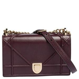 Dior Burgundy Leather Small Diorama Shoulder Bag