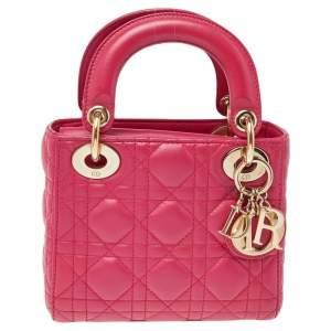 حقيبة يد توتس ديور ميني ليدي ديور بسلسلة جلد كاناج وردي