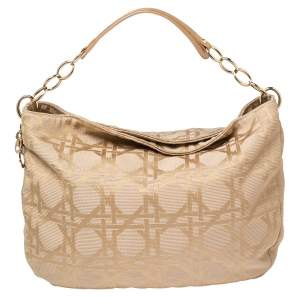 Dior Beige Cannage Canvas and Leather Lady Dior Hobo