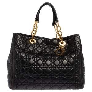 Dior Black Cannage Leather Soft Lady Dior Shopper Tote