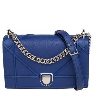Dior Indigo Leather Medium Diorama Flap Shoulder Bag