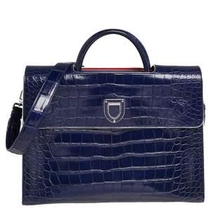 Dior Blue Shine Alligator Large Limited Edition Diorever Top handle Bag