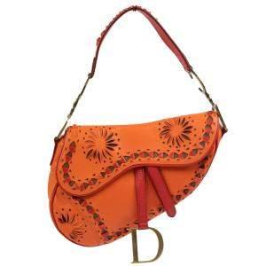 Dior Orange Leather Laser-Cut Floral Saddle Bag