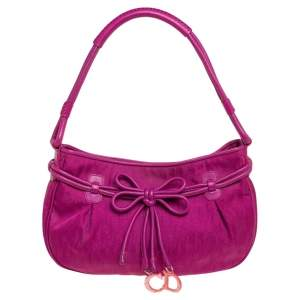 Dior Fuchsia Oblique Nylon and Leather Bow Charm Hobo