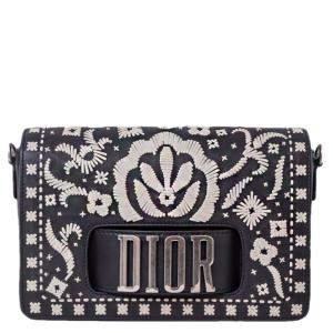 Dior Black/White Leather Floral Embroidered Dio(r)evolution 2019 Flap Bag