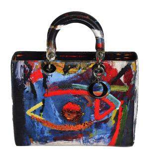 Dior Multicolor Dior Lady Art Leather Large Lady Dior Tote Bag