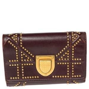 Dior Burgundy Leather  Diorama Studded Compact Wallet