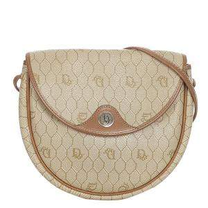 Dior Beige/Brown Canvas Honeycomb Crossbody Bag