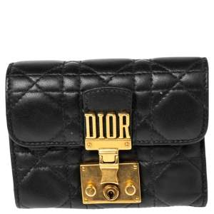 Dior Black Cannage Leather Addict Wallet