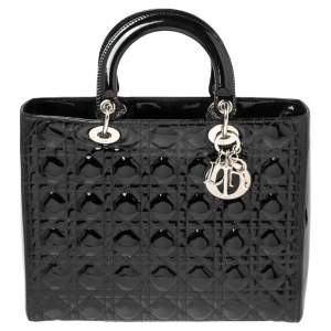Dior Black Cannage Patent Leather Large Lady Dior Tote