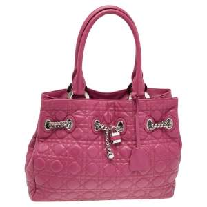 Dior Pink Cannage Leather Charming Tote