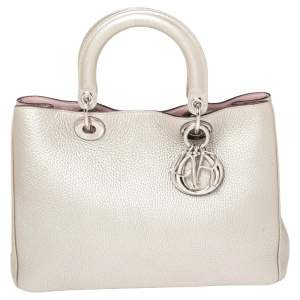 Dior Metallic Grey/Pink Grained Leather Medium Diorissimo Shopper Tote