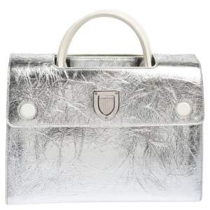 Dior Metallic Silver Crinkled Leather Medium Diorever Bag