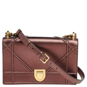 Dior Metallic Bronze Leather Medium Diorama Flap Shoulder Bag