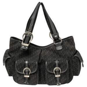 Dior Black Diorissiomo Canvas and Leather Street Chic Pocket Satchel