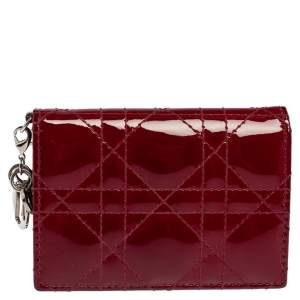Dior Maroon Cannage Patent Leather Lady Dior Flap Card Holder