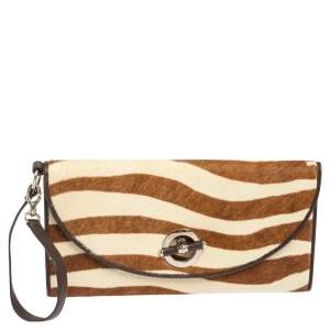 Dior Brown/White Calfhair and Leather Jazz Club Wristlet Clutch