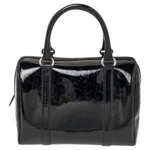 Dior Black Monogram Patent Leather Boston Bag