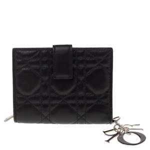 Dior Black Cannage Leather French Wallet
