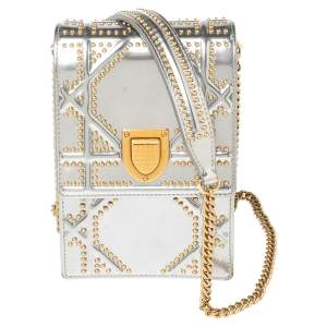 Dior Silver Glossy Leather Diorama Studded Vertical Chain Clutch