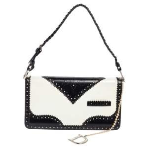 Dior White/Black Brogue Leather Faux Pearl D'Trick Baguette Bag