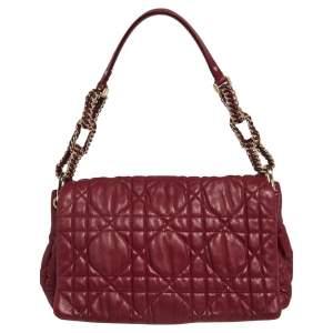 Dior Red Cannage Leather Delidior Flap Shoulder Bag