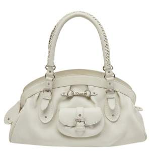 Dior White Leather Large My Dior Frame Satchel