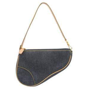 Dior Blue Denim Saddle Shoulder Bag