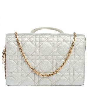 Dior Silver Cannage Leather Wallet on Chain