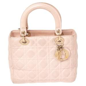 Dior Blush Pink Cannage Leather Medium Lady Dior Tote