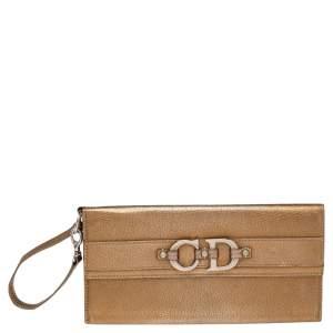 Dior Metallic Gold Grained Leather CD Logo Wristlet Clutch