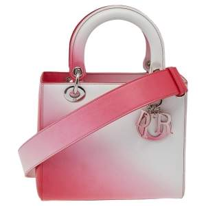 Dior White/Pink Leather Lady Dior Tote