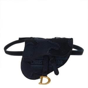 Dior Navy Blue Canvas Camouflage Embroidered Saddle Belt Bag