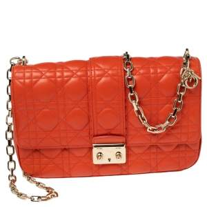 Dior Orange Cannage Leather Medium Miss Dior Flap Bag
