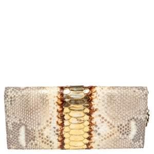 Dior Metallic Beige Python Lady Dior Chain Clutch