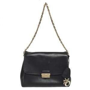 Dior Black Leather Large Diorling Chain Shoulder Bag