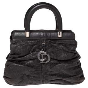 Dior Black Leather Karenina Frame Tote