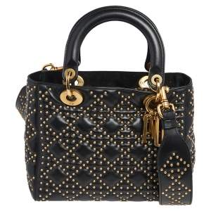 Dior Black Studded Leather Medium Supple Lady Dior Tote
