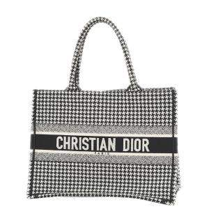 Dior Black/White Canvas Hound Tooth Embroidered Book Small Tote Bag