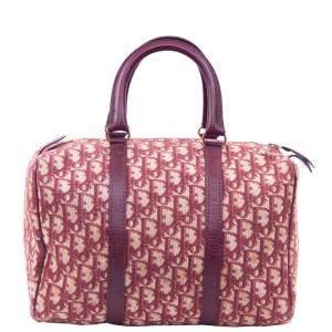 Dior Pink/Brown Trotter Canvas Boston Bag