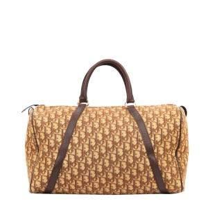 Dior Brown Trotter Canvas Boston Bag