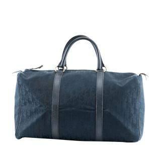 Dior Navy Blue Trotter Canvas Boston Bag