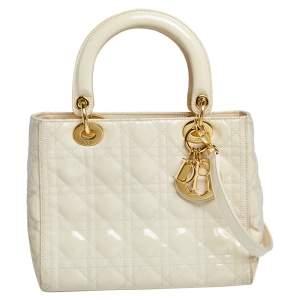 Dior Cream Cannage Patent Leather Medium Lady Dior Tote