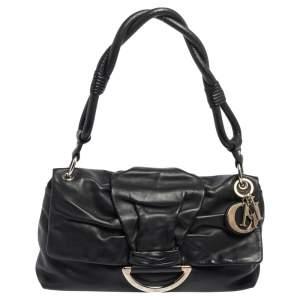 Dior Black Leather Demi Lune Flap Shoulder Bag