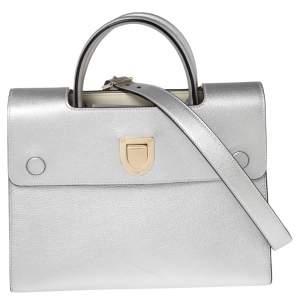 Dior Silver Leather Medium Diorever Tote