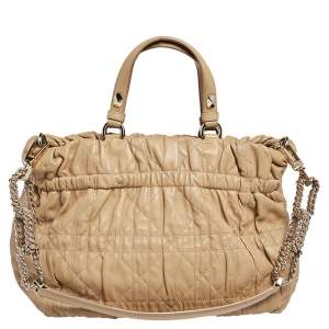 Dior Beige Quilted Cannage Leather Delices Gaufre Tote