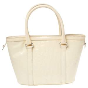 Dior Beige Oblique Embossed Patent Leather Top Zip Tote