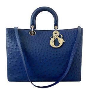 Dior Dark Blue Ostrich Leather Extra Large Lady Dior Bag
