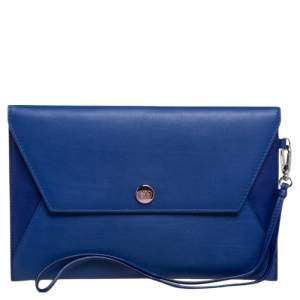 Dior Two Tone Blue Leather Wristlet Pouch