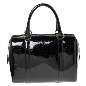 Dior Black Oblique Monogram Patent Leather Boston Bag